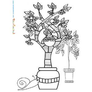 Coloriage d'arbres de jardin en pot de terre