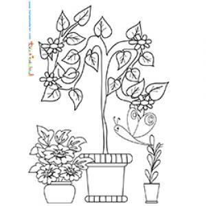 Pots dans un jardin à colorier