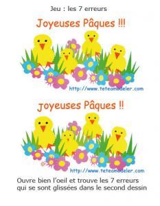 jeu des 7 erreurs sur Pâques