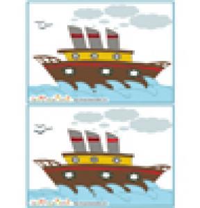 Jeu des 7 erreurs: mer et bateau vapeur