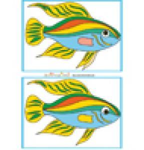 Jeu des 7 erreurs: mer et poisson multicolore