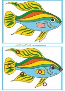 Solution du Jeu des erreurs: mer et poisson multicolore