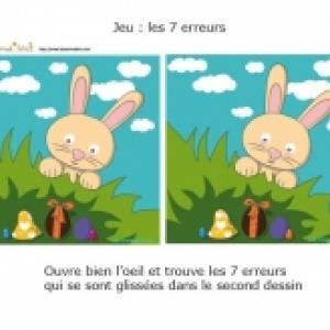 Jeu des 7 erreurs : Oeufs et lapin de Pâques