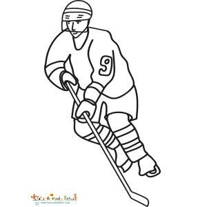 Joueur de Hockey, un coloriage sur le Hockey