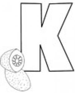 Colorie le K de l'alphabet comme KIWI