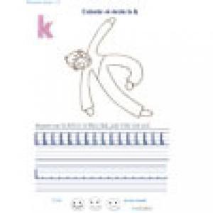 """Ecrire et colorier la lettre de l'alphabet """"k"""" en cursif"""