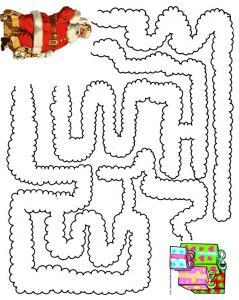 Imprimer le jeu du labyrinthe Pere Noel et ses cadeaux