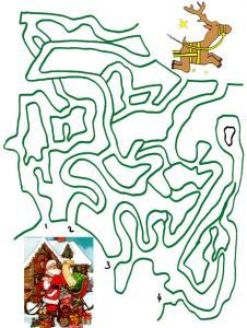 Imprimer le jeu du labyrinthe Pere Noel a perdu son renne