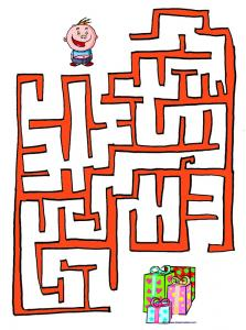 Imprimer le jeu du labyrinthe de Noël  enfant et les cadeaux