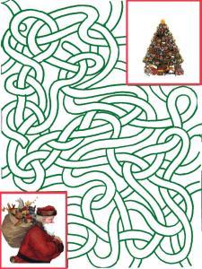 Imprimer le jeu du labyrinthe Pere Noël  qui cherche son sapin