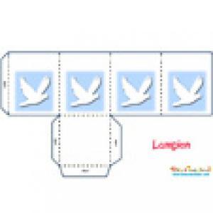 Modèle lampion colombe blanche sur fond bleu