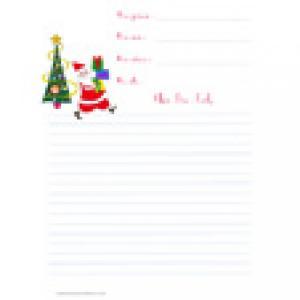 Modèle papier à lettre de Noël à lignes