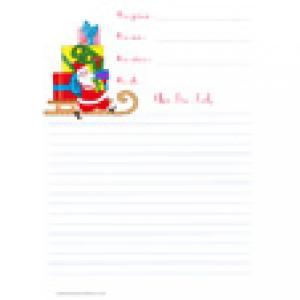 Papier à lettre de Noël au traîneau