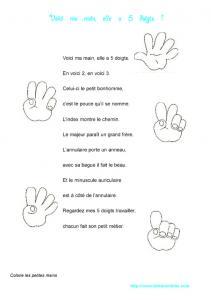 Texte de la comptine : voici ma main