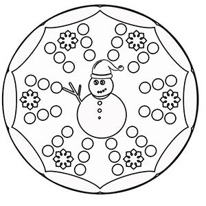 Mandala bonhomme de neige à colorier