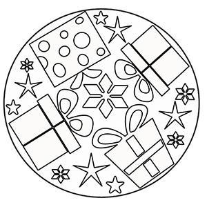 Mandala cadeaux de noël à colorier