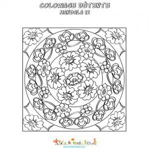 Coloriage détente : mandala des fleurs