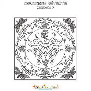 Mandala des papillons à colorier