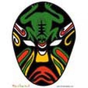Masque asiatique noir à la grenouille