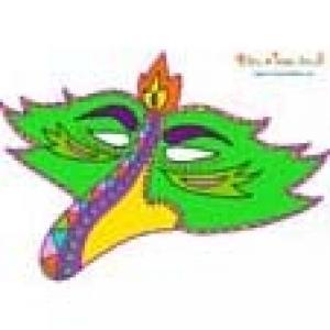 Masque bec d'oiseau baroque vert à imprimer