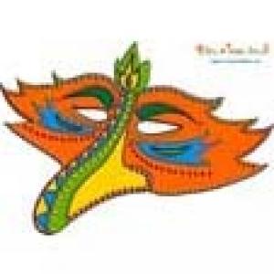 Masque orange bec d'oiseau à sequins
