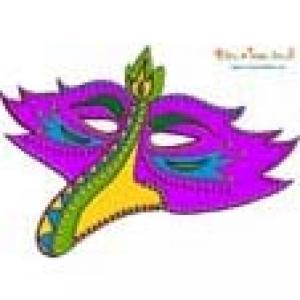 Masque bec d'oiseau violet à sequins