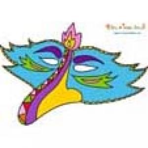 Masque bec d'oiseau bleu à découper