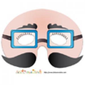 Imprimer le modèle du masque de monsieur aux lunettes bleues et moustaches noires