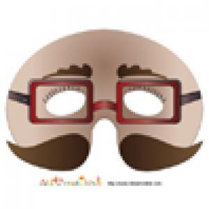 Masque de monsieur aux lunettes rouges et moustaches brunes