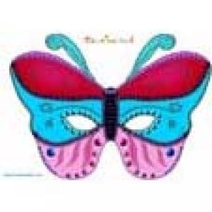 Masque papillon rouge, bleu et rose