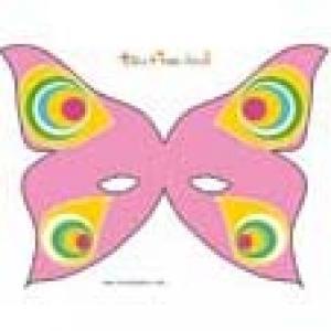 Masque de papilon rose à grandes ailes et pastilles