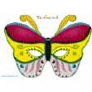 Paper toy : Masque papillon rouge, jaune et rose