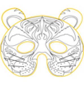 modèle du masque de tigre à colorier