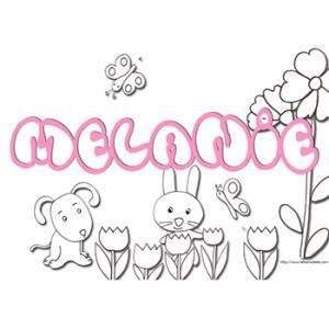 coloriage prénom Mélanie