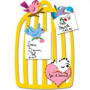 Mémo cage à oiseaux romantique