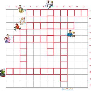 Imprimer la grille de mots croisés métiers 1 pour le primaire cycle 2