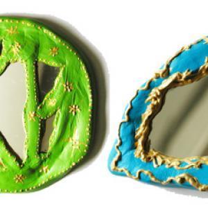 Miroirs réalisés en argile qui sèche à l'air
