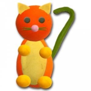Modelage chat assis orange