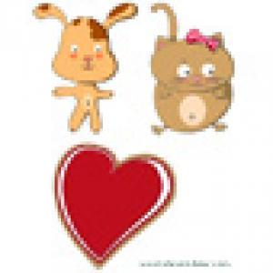 Chien, chat et coeur