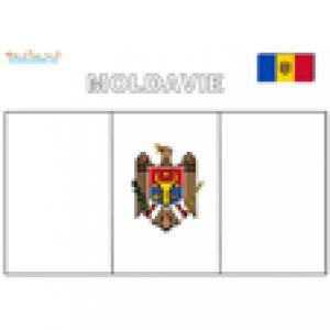 Coloriage du drapeau de la Moldavie