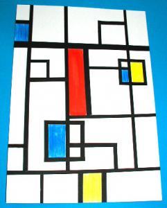 Aider un enfant de plus de 8 ns à peindre un tableau comme Mondrian