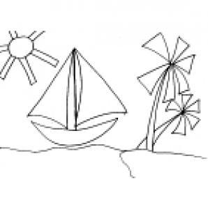 Mosaïque du bateau et de l'ile