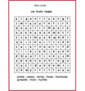 Jeu de mots cachés: les noms de fruits grille n°7