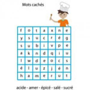 Mots cachés : le goût, jeux de mots cachés vocabulaire du goût