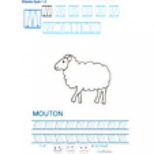 Imprimer la fiche graphisme sur M de MOUTON . Imprimer une fiche de graphisme pour apprendre à écrire les lettres en bâton. Niveau 3 de maternelle.
