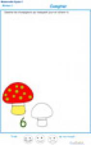 Imprimer l' Exercice 1 : ajouter les champignons pour faire le chiffre 6