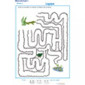 Imprimer le jeu de labyrinthe 4 pour apprendre le repérage dans l'espace en Moyenne Section de maternelle. Le crocodile