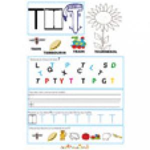Page de lecture - écriture : la grande lettre T de tournesol