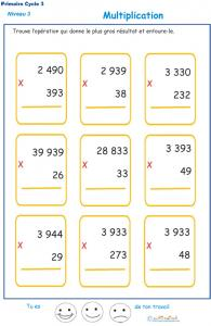 Imprimer des multiplications cycle 3 niveau 3 exercice 1