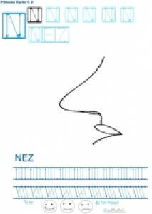 Exercice d'écriture et de graphisme : N et NEZ